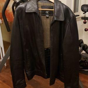 Ck Calvin  Klein  mens lg black leather coat